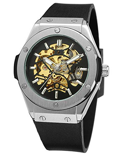 Carrie Hughes Men's Steampunk Automatic Stainless Steel Watch Black Rubber Strap (CH679)