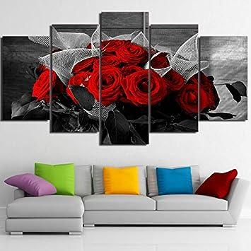 hermosas fotos de casa hd Lienzo No Enmarcado 5 Unidades Hermosas Flores De Rosa Roja