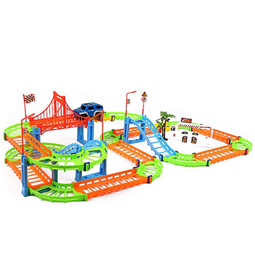 Jesse Electricレール車トラックRoller Coaster Toyスパイラル二層DIY建物子供子ギフト