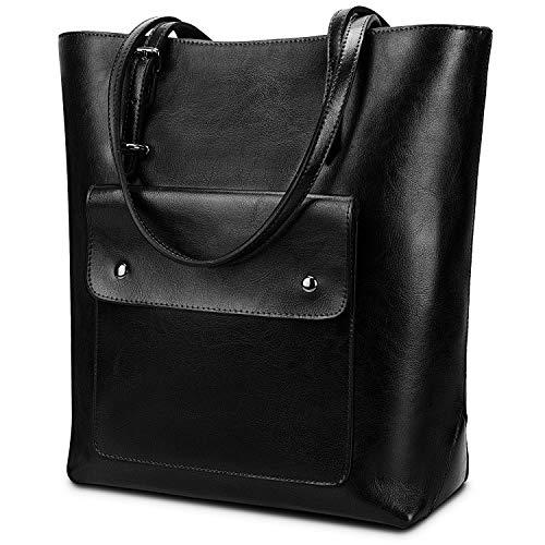 YALUXE Women's Front Pocket Vintage Style Soft Leather Work Tote Large Shoulder Bag Black - Leather Pocket Tote
