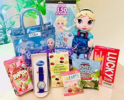 (Special Gift Basket for Girls 3+ (3-8) with Fun Disney Frozen Theme Trinkets: Elsa Doll, Purse, Watch with Organic Snacks: Cookies, Gummy Bears & More! She'll thank you forever! Birthday/Get Well)