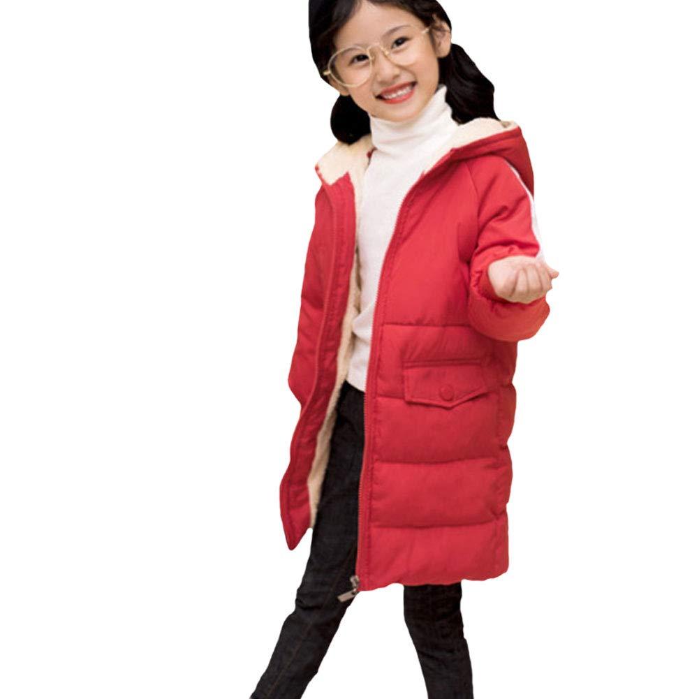 M/&A Kids Lightweight Down Jacket for Girls Boys Winter Puffer Coat with Faux Fur Hood