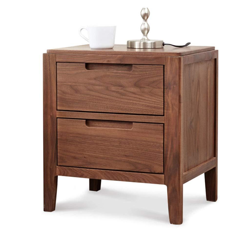 木製収納棚、2段多機能引き出し引き出しキューブ棚ユニットキャビネット自立型寝室用オフィス無垢材ラックブラウン B07NVT5R59