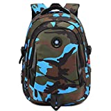Comfysail Camouflage Printed Primary School Nylon Backpack - Ideal for 1-6 Grade School Students Boys Girls Daily Use and Outdoor Activities (Large, Blue)
