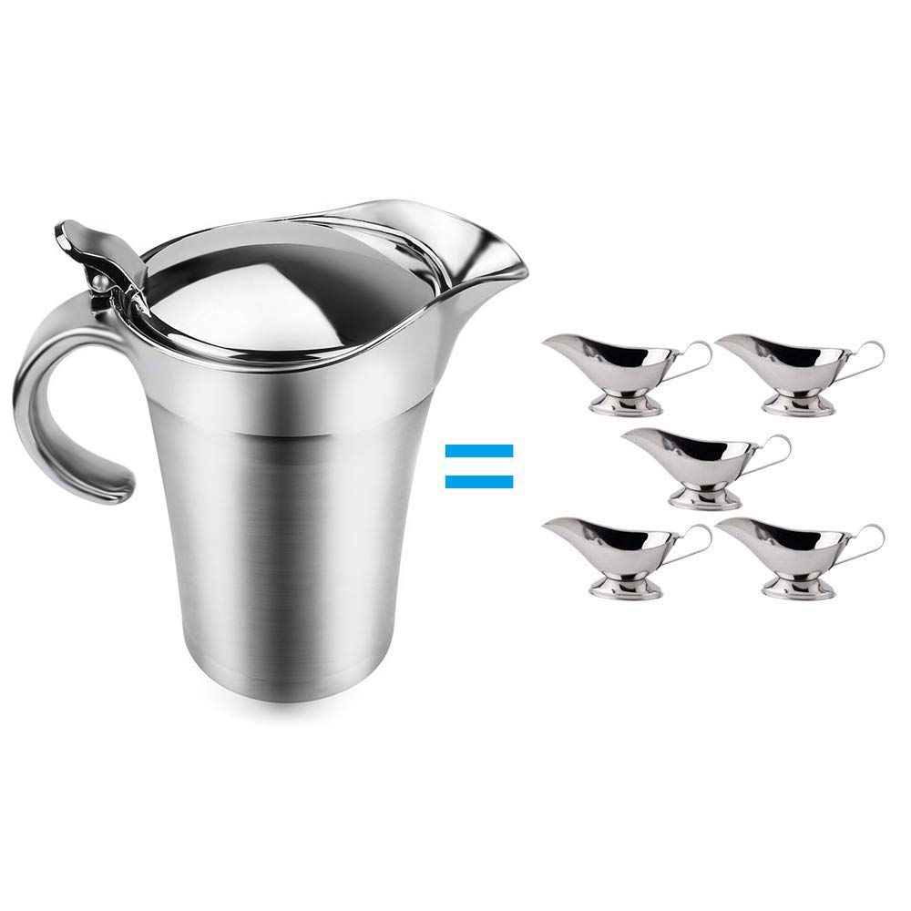 ShineMe Stainless Steel Gravy Boat 25oz Sauce Jug with Lid, Double Wall Insulated, Storage for Gravy or Cream, Used at Home & Kitchen by ShineMe (Image #3)