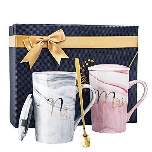 Mr and Mrs Coffee Mugs - Wedding Gift for Bride and Groom-Bridal Shower Engagement Gift and Married Couples Anniversary Gift - Ceramic Marble Cups 14 oz with Gift Card & Decorative ribbon bow-knot.