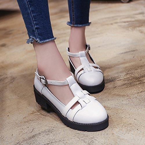 GAOLIM Estudiantes En El Verano Con Sandalias Planas Baotou Nivel Inferior Con Zapatos De Mujer Blanco