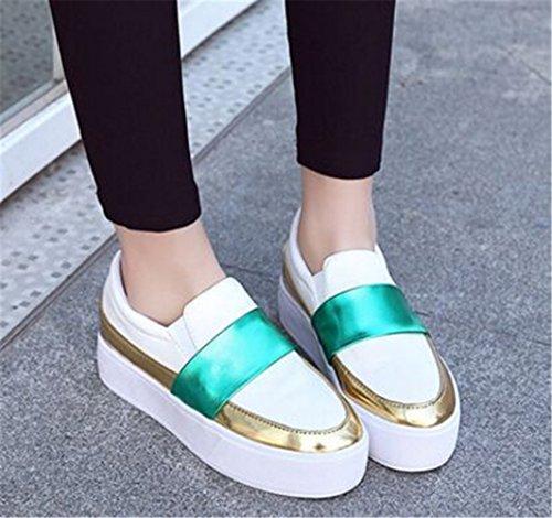 Toota Slip On Walking Chaussures Chaussures De Sport Pour Femmes Casual Mocassins Flats Chaussures En Cuir Blanc