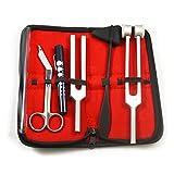 Tactical Black - Set of 5 pcs Reflex Percussion Taylor Hammer + Penlight + Tuning Fork C 128 C 512 + Bandage Scissors 5.5