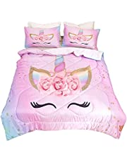 """Qjmiaofang Unicorn Bedding Flower Girl Comforter Twin Sets Cartoon Unicorn Bedspreads Cute Kids Comforter Sets for Teens and Girls 3 Piece Pink Unicorn Bed Set 68"""" x 86"""" with 2 Unicorn Pillowcases"""