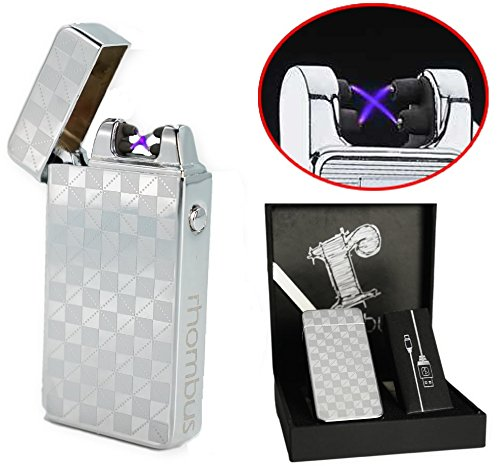 Silver Plasma lighter Gift Box Double arc lighter Rechargeable electric lighter cool lighter Windproof tesla coil lighter usb lighter survival camping Cool Unique Christmas Gift idea for dad men (Unique Electronic)