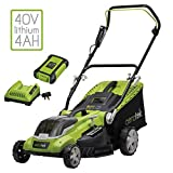 Aerotek 40V X2 Series Cordless Lawnmower, Lithium-Ion 4Ah Battery & Charger Included, Cutting Width...