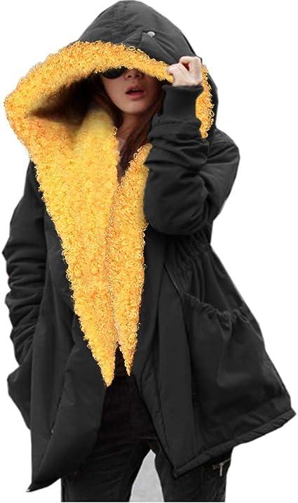 TALLA 36. Aox - Sudadera con Capucha para Mujer, de Piel sintética, cálida y Gruesa, para Invierno, Talla Grande, Tallas 38 a 50