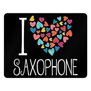 Idakoos I love Saxophone colorful hearts - Instruments - Plastic Acrylic