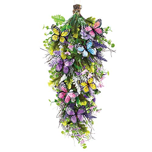 Collections Etc Springtime Floral Butterfly Swag - Seasonal Window or Door Accent for Any Room in Home