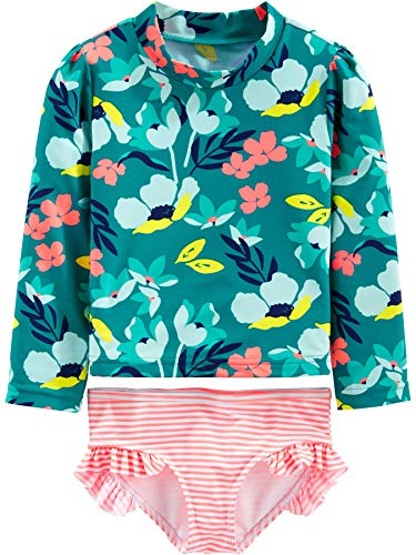 Simple Joys by Carter's Girls' 2-Piece Rashguard Set, Floral, 6-9 Months