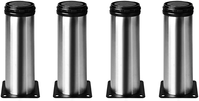 4 unidades Patas de Metal muebles regulables armario de cocina pies redondo - Metal cromado - Altura ajustable (Total: 120mm)
