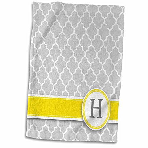 - 3D Rose Your Name Initial Letter H-Monogrammed Grey Quatrefoil Pattern-Personalized Yellow Gray Towel, 15