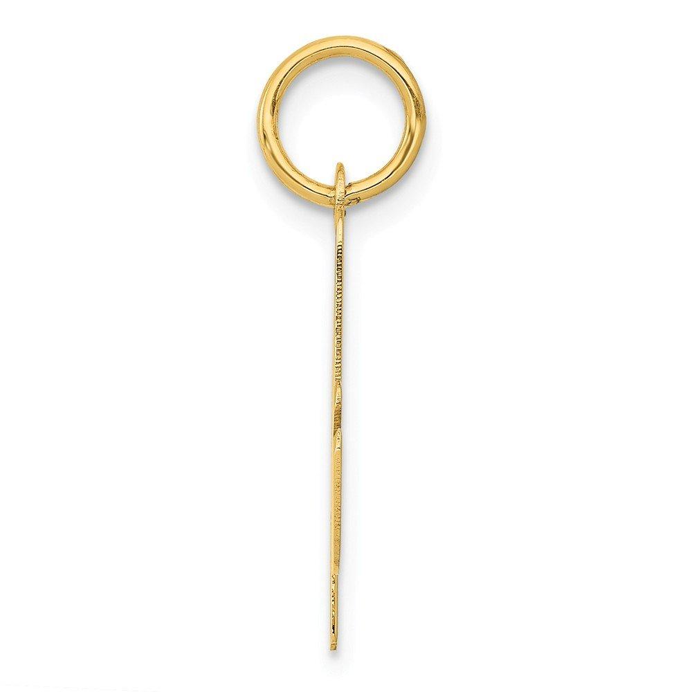 Script Letter A Pendant Initial Alphabet Charm Fashion 14K Yellow Gold