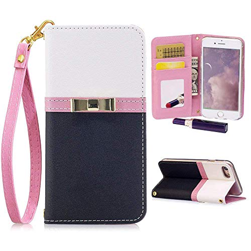Pepmune for iPhone XR Case, Luxury PU Leather Wallet Case Lovely 3D Bow-Knot Colour Matching Flip Cover with Mirror Card Slot Kickstand Case for iPhone XR,Black