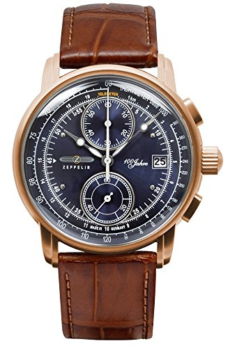 Zeppelin Men's Watch 100 Years Series Chronograph Rose Gold Case Blue Dial 8672-3