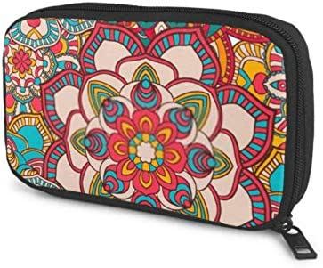 Electronics Accessories Organizer Bag Seamless Mandala Pattern Printing On Fabric Electronics Organizer Electronic Bag Storage Bag of Cases for Cable, Charger, Phone, USB, Sd Card