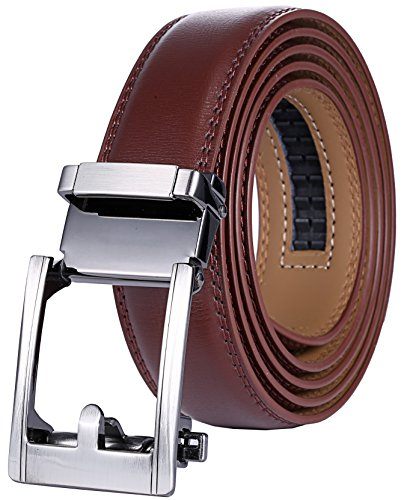 Marino Men's Genuine Leather Ratchet Dress Belt with Automatic Buckle, Enclosed in an Elegant Gift Box - Gunblack Silver Open Buckle with Brown Leather - Custom: Up to 44