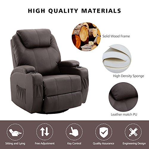 Massage Recliner Chair, 360 Degree Swivel and Heated Recliner Leather Sofa Chair with 8 Vibration Motors?Brown