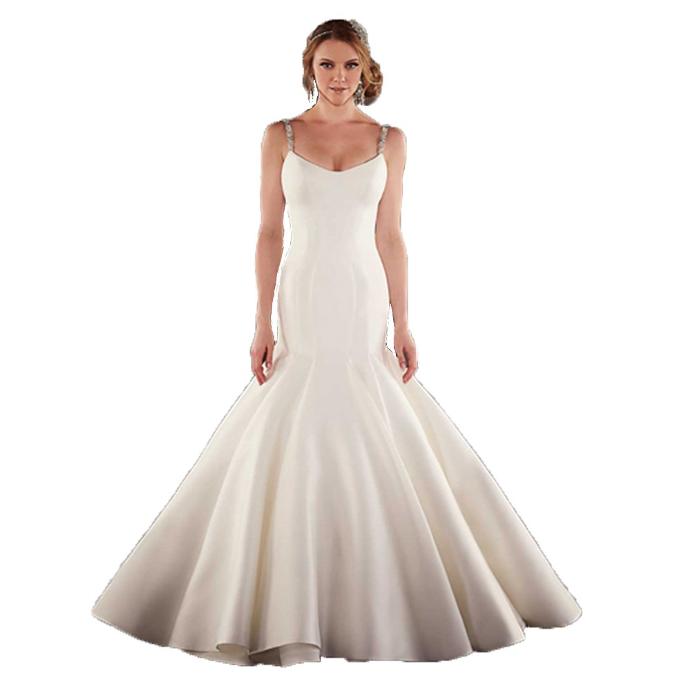 Newdeve Beaded Spaghetti Straps Open Low Back Ivory Wedding Dresses