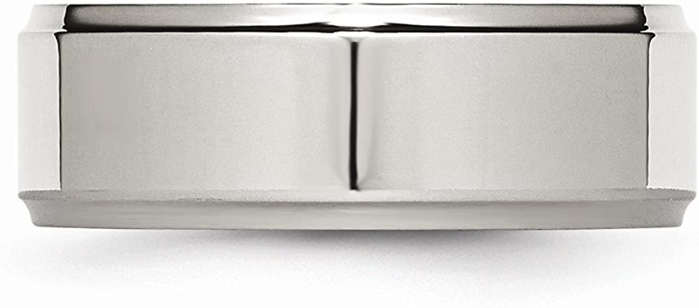 Wedding Bands Classic Bands Flat Bands w//Edge Stainless Steel Ridged Edge 8mm Polished Band Size 12