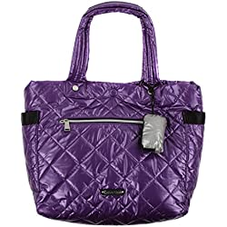 Calvin Klein Womens Mylar Quilted Reversible Tote Handbag Purple Large