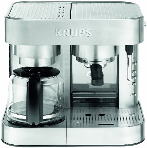 Krups XP604050 Stainless Steel Combi Espresso and Coffee Machine, Die Cast