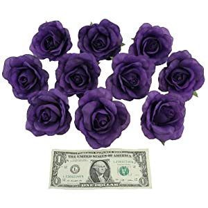 10 Purple Rose Heads Silk Flower Wedding/Reception Table Decorations (Large) 2