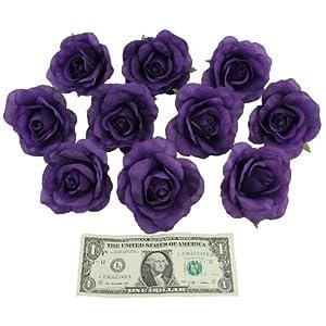 TheBridesBouquet.com 10 Purple Rose Heads Silk Flower Wedding/Reception Table Decorations (Large) 2