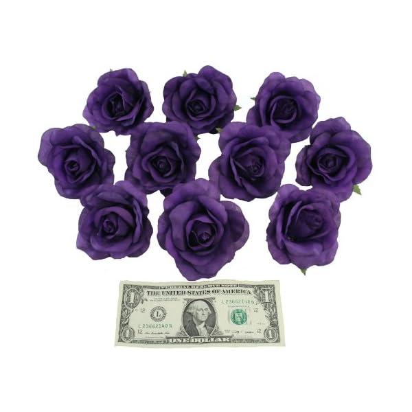 TheBridesBouquet 10 Purple Rose Heads Silk Flower Wedding/Reception Table Decorations (Large)