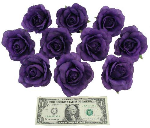 10-Purple-Rose-Heads-Silk-Flower-WeddingReception-Table-Decorations-Large