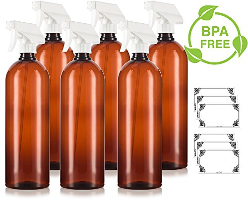 Amber 32 oz Large Boston Round PET Bottles (BPA Free) with White Heavy Duty Industrial Trigger Sprayer (6 pack) + Labels