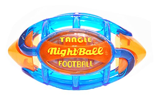 TANGLE NightBall Glow in The Dark Light Up LED Football, Large, Blue with -