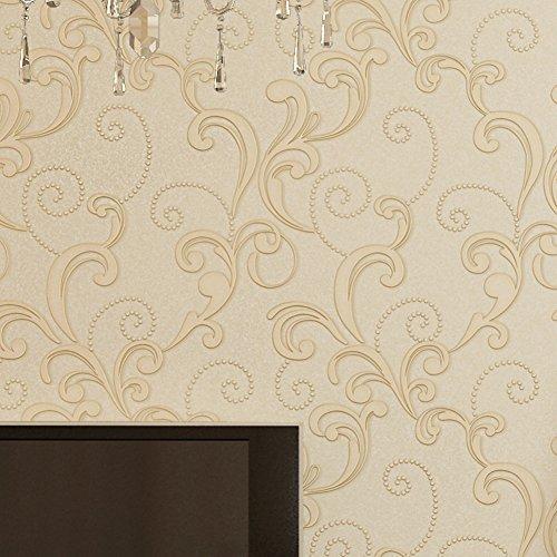 3D wallpaper/European-style non-woven wallpaper/Bedroom living room full shop walls/ Ranunculus sweet potato leaf wallpaper/ Jasmine wallpaper-F