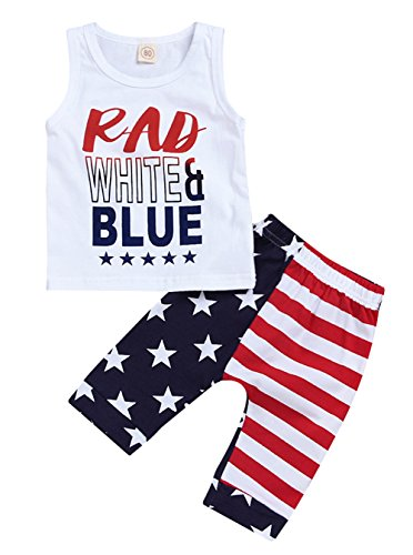 Baby Boys American Flag 4th of July T-Shirt Vest Tops+Harem Pants 2Pcs Set Size 3-4 Years/Tag110 (White) (4th Of July T Shirts To Make)