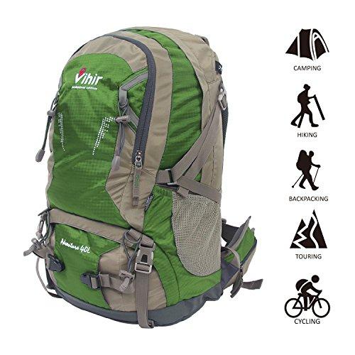 Vihir 40L travel hiking backpack waterproof with Rain Cover for men women, Green