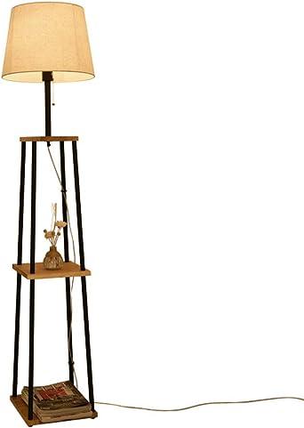Lámparas de pie LED japonesas, estantes de 3 capas vintage Tejido de hierro negro Iluminación Decoración Lámpara de lectura enchufable Sala de estar moderna Estudio Sofá Lámpara de mesa de piso: Amazon.es: