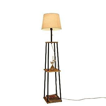 Lámparas de pie LED japonesas, estantes de 3 capas vintage Tejido ...