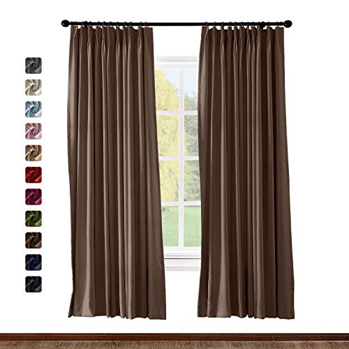 (BeyondEC Pinch Pleat Curtain Solid Thermal Insulated Blackout Patio Door Panel Drape for Traverse Rod and Track, Chocolate 50Wx63L Inch (1 Panel))