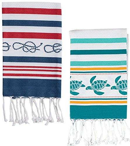 2 Nautical Theme Fringe Hand and Face Coastal Towel Set for Kitchen and Bathroom | Beach Turtle and Sailor's Knot Decorative Print |100% Cotton, 20 Inch x 30 (Classic Ball Fringe)