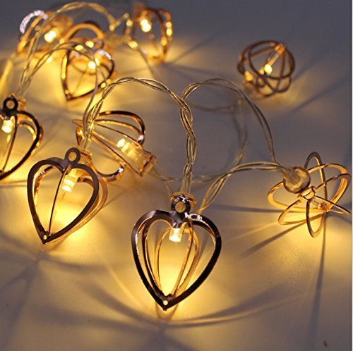KINGCOO Metal String Lights, 3.3M 20LED Rose Gold Geometric Latern String Lights Battery Powered Fairy Lights For Christmas Home Party Decoration (Rose Gold Heart)