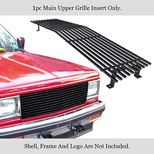 APS Compatible with 1982-1990 Chevy S-10 Blazer S-15 Jimmy Upper Stainless Black Billet Grille 8x6 Wide N19-J40058C