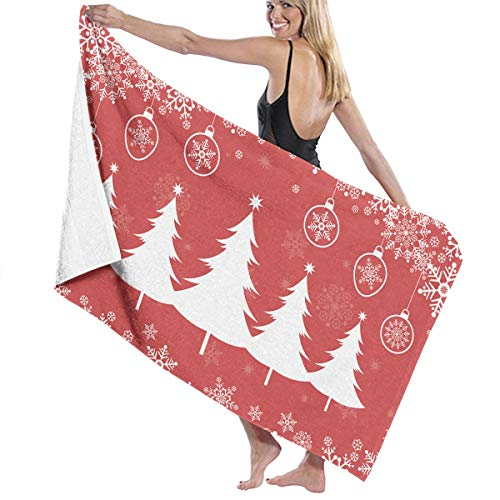 インスタンス恵みビスケットビーチバスタオル バスタオル Christmas, クリスマス スタイル - 2 レジャーバスタオル 海水浴 旅行用タオル 多用途 おしゃれ White
