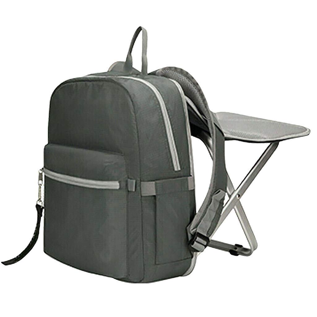 Jeeke Backpack Stool Combo Portable & Folding Camping Chair Stool Backpack with Padded Shoulder Straps Hiking Seat Table Bag Camping Gear for Fishing Travel Beach BBQ (Gray)