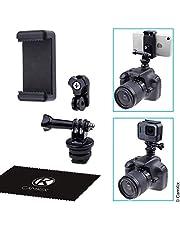 CamKix Flitsschoen (Hotshoe) Adapterset compatibel met telefoon, actiecamera naar de flitsbevestiging van uw DSLR-camera - neem uw fotoshoot op of gebruik telefoon-apps voor verlichting